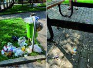 Parklar hafta sonu çöp yığını
